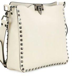 Valentino Ivory Rockstud Crossbody Hobo Bag